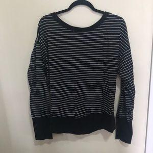 Black and gray stripe workout open back sweatshirt
